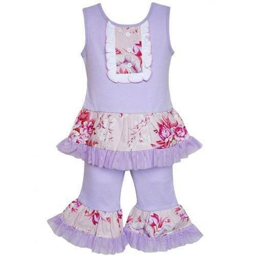 AnnLoren Girls Purple Floral Cotton Ruffle Tank Capri Set  2//3T or 4//5T