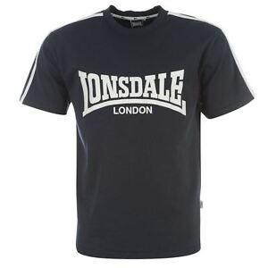 Tee-shirt-LONSDALE-bleu-marine-blanc-modele-034-L-Logo-034-Du-S-au-XXL