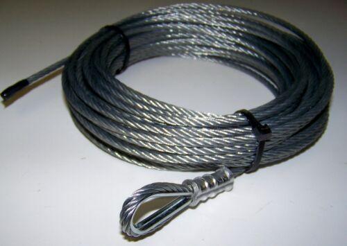 "ATV 3//16/"" x 50/' Galvanized Steel Winch Replacment Cable 7 x 19  Crimped Loop Inc"
