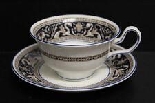 Wedgwood Florentine Tea Cup & Saucer Dark Blue W1965