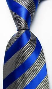 New-Classic-Striped-Blue-White-Black-JACQUARD-WOVEN-100-Silk-Men-039-s-Tie-Necktie