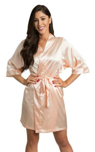 Beautiful Sweet Peach Satin Kimono Robe Wedding Bridal Party Robes *DEAL*
