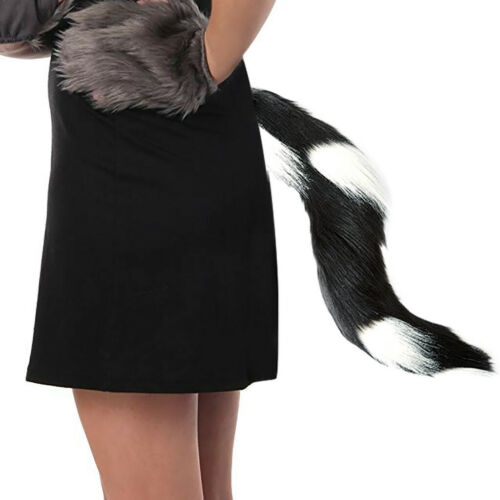 Halloween Faux Fur Tail Belt  Cosplay Furry Animal Adjustable Carnival  Party