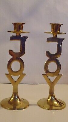 International Silver Co Holiday JOY Vintage Brass Candlestick Holders Hand Made Solid Brass India