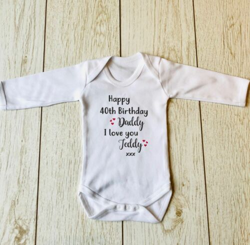 Happy Birthday Daddy Personalizzato Nome Età a maniche lunghe Bambino Body Canotta Body