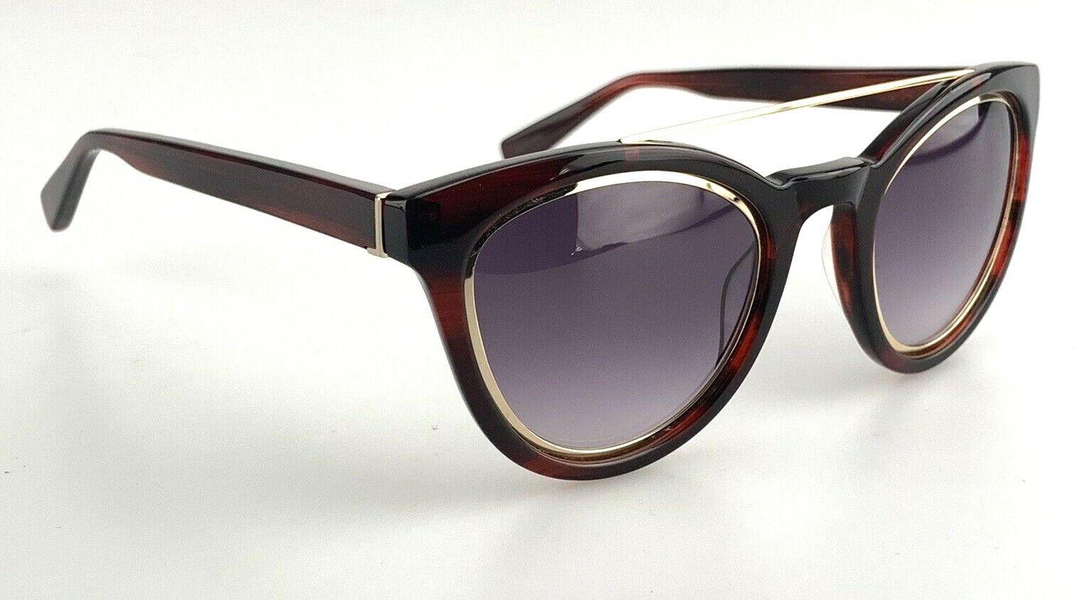 Derek Lam Sunglasses mod. Tessa Red Cat Eye Gold Brow Bar Mirrored Made in Japan