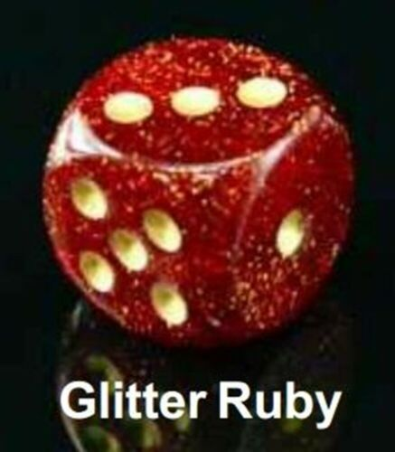 Ruby Gold Chessex GAMING SUPPLY BRAND NEW Glitter 36 Die Set D6 12mm