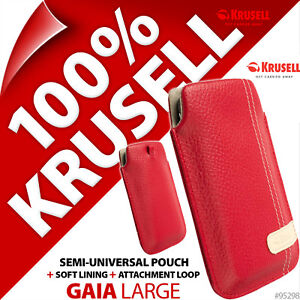 Nuevo-Krusell-Gaia-L-Grande-De-Cuero-Sintetico-Mobile-Pouch-Funda-Protectora-Slim-Rojo