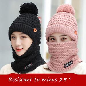 Women-039-s-Knit-Scarf-Hat-Set-Winter-Warm-Solid-Pom-Soft-Beanie-Caps-Scarves-Sets