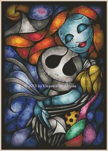 Nightmare Before Christmas Stained Glass Jack And Sally X Stitch Pattern Cd Ebay