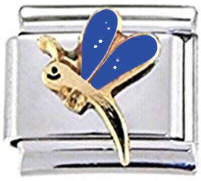 fits 9mm classic Italian charms Bird gold coloured enamel Italian Charm