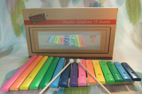 1 of 1 - Kaper Kidz Children's Large Wooden 15 toned Xylophone Musical Instrument Toy!