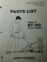 Homelite Gas String Trimmer St-80 Parts Manual 8pg Weedwacker Line Yard Edger