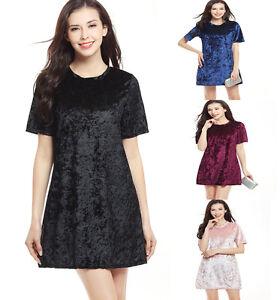 Women Sexy A-line Velvet Dress Short Sleeve Mini Skirt Latest ... ac78c631c
