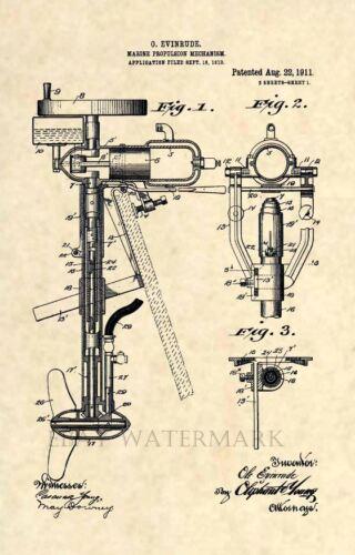 Official Evinrude Motor US Patent Art Print Vintage Antique Outboard Marine 158