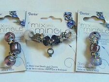 LOT OF 3 DARICE MIX AND MINGLE BEADS- WEDDING - BLUE/PINK/AMETHYST GLASS LOT #16