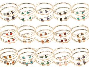 Bracelet-Bangel-Cuff-Silver-Plated-Handmade-Gemstone-Jewellery-Adjustable-Isj6