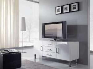 Dettagli su Credenza CRETA 2 moderna madia bianco lucido 2 ante 3 cassetti  design Porta TV