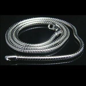 ASAMO-Damen-Herren-Schlangenkette-3-mm-925-Sterling-Silber-plattiert-Halskette