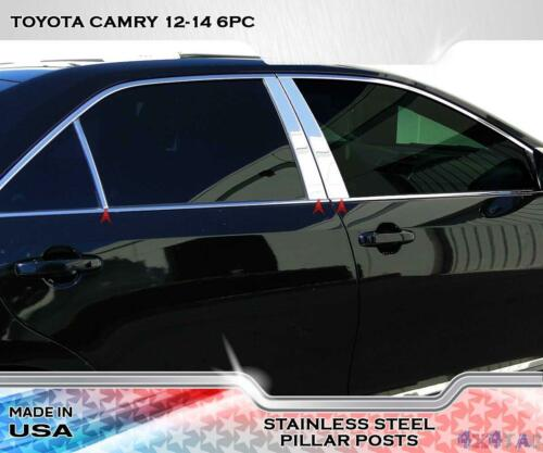 Made In USA Works With 2012-2014 Toyota Camry 6PC Stainless Steel Chrome Pillar Post Trim