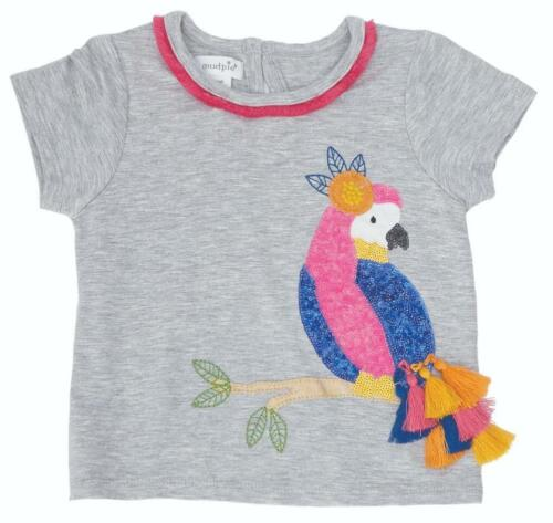 Gray Mud Pie Wild at Heart Collection Toucan Tropical Bird Short Sleeve Shirt