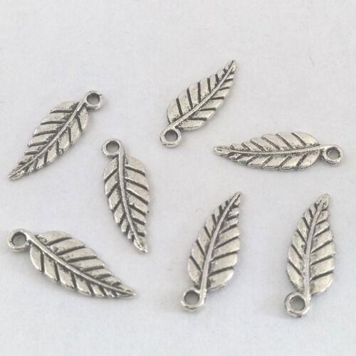 LOT de 12 PENDENTIFS perles breloques FEUILLES LEAF ARGENTE création bijoux