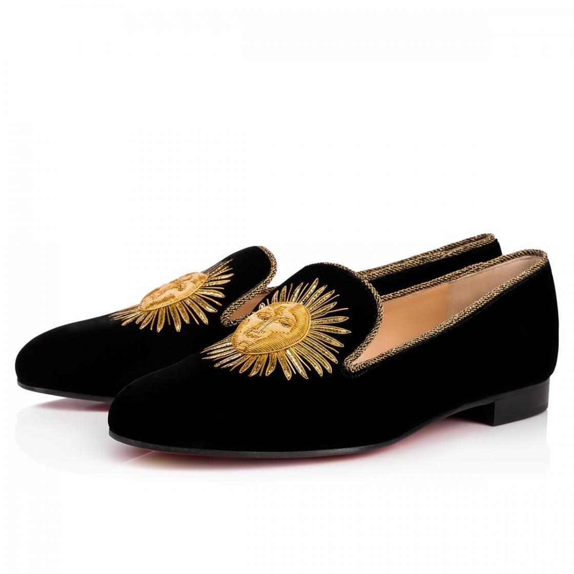 NIB Christian Louboutin Morning Sakouette Flat Black Velvet gold Sun Loafer 37.5