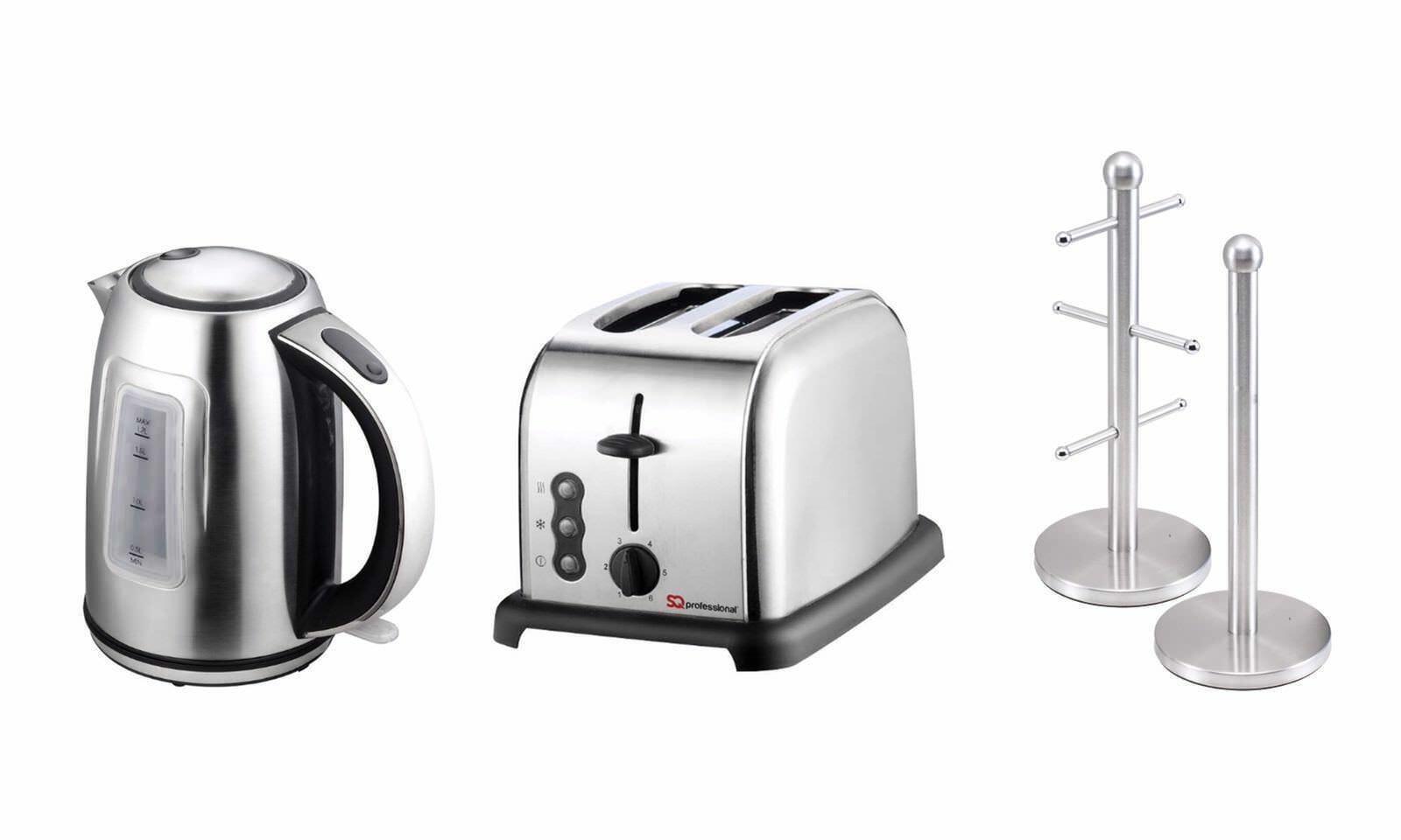 Bollitore, tostapane e tazza albero porta rotolo da cucina & Stand Set in 4 coloreI