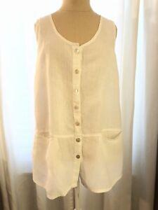 en blanc Tunique manche boutonnée et oversize lin lin sans 8wON0PknX