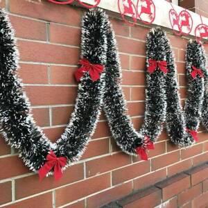 Festa-Di-Natale-Decorazioni-Ghirlanda-Natale-neve-suggerimenti-Holly-verde-scuro-e-bianco-200CM
