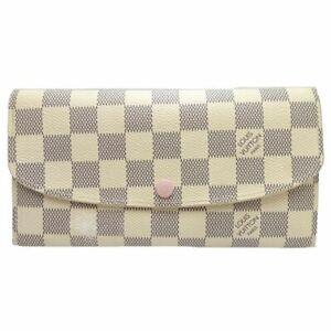 Authentic-LOUIS-VUITTON-Damier-Azur-Emilie-Wallet-Rose-Ballerine-N61264-044487
