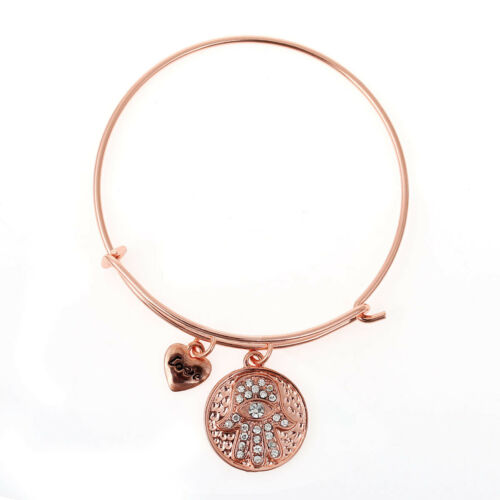 "Extensible Charme Bracelet Rose Ton Or Rond Coeur Pendentifs Charme main et /""LOV"