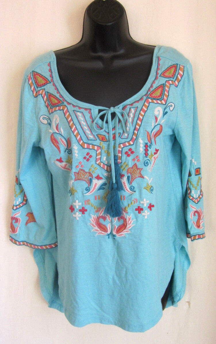CAITE Felicia Turquoise Embroiderot Hand Crafted Boho Top Größe S Small CTCO-110