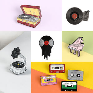 Pin-Brooches-Badges-Backpack-Music-Vinyl-Different-Hard-enamel-lapel-Hat-Goth