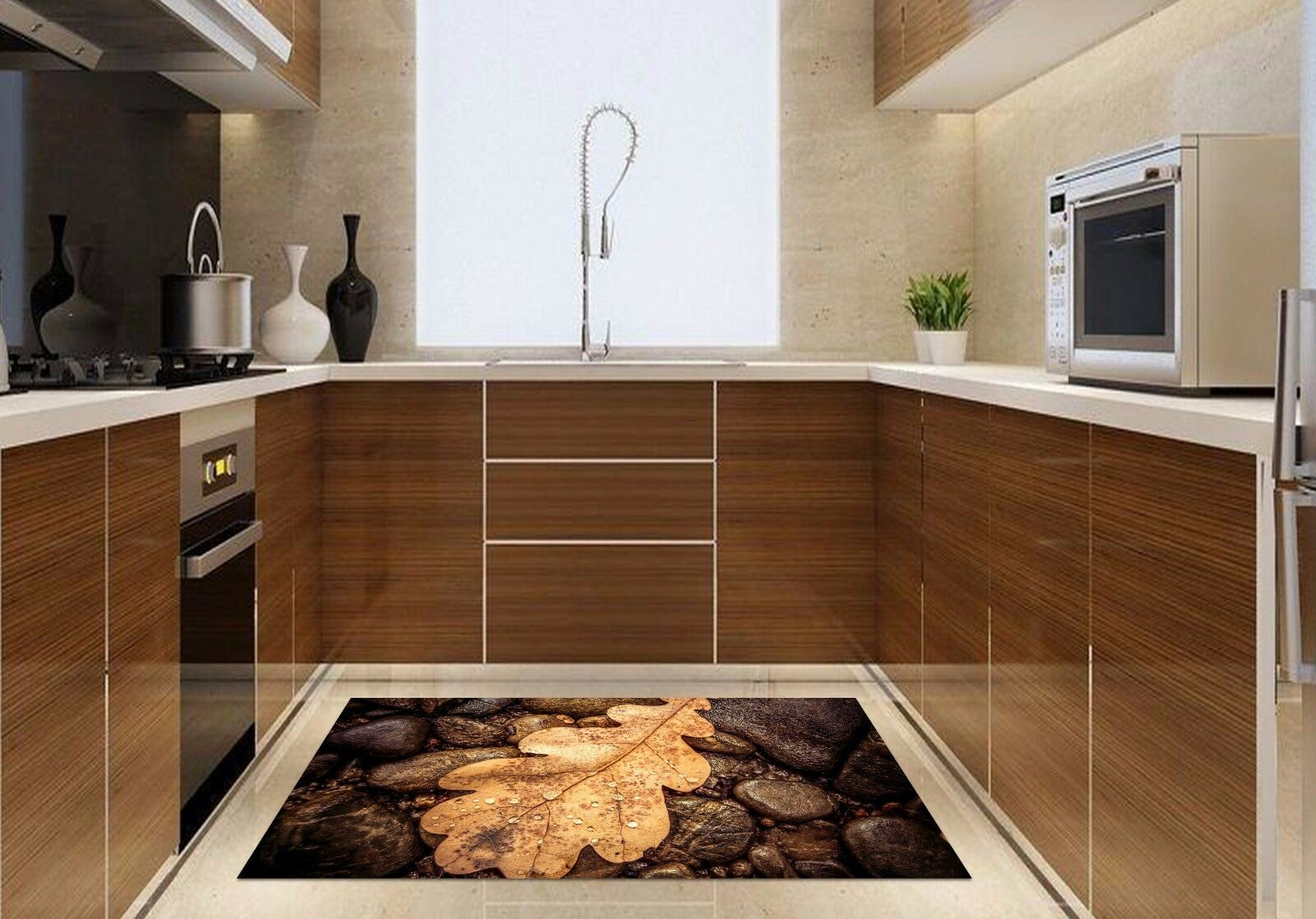 3D Leaves Stone 8 Kitchen Mat Floor Murals Wall Print Wall AJ WALLPAPER AU Carly