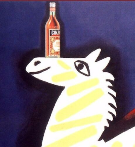 Cinzano 1951 Vintage Poster Print Art Classic Wine Liquor Drink Yellow Zebra
