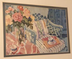 Artist Shirley Murray Framed Art Print Flowers Floral Outside Chair Table