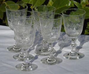 Saint-Louis-Service-de-6-verres-a-vin-rouge-en-cristal-grave-Debut-Xxe-s