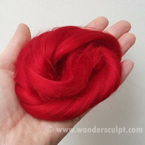 Bambola di viscosa fibra dei capelli OOAK Ago A Maglia Animale Unicorno Fata Parrucca-Red Hot
