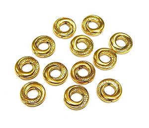 30-Metallperlen-Verbinder-15mm-Tibet-Gold-Donut-Perlen-Ring-Spacer-BEST-F32