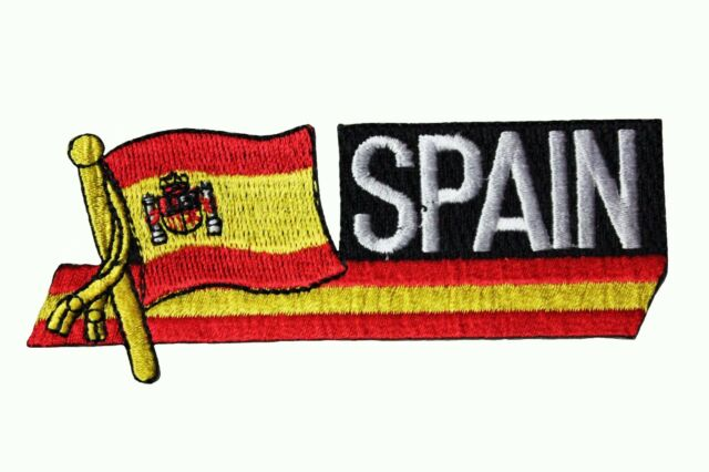 SPAIN COUNTRY FLAG IRON-ON PATCH CREST BADGE 1.5 X 2.5 INCH