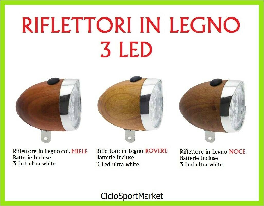 Light Light front bicycle fixed wood Batteries Included - 3 LED