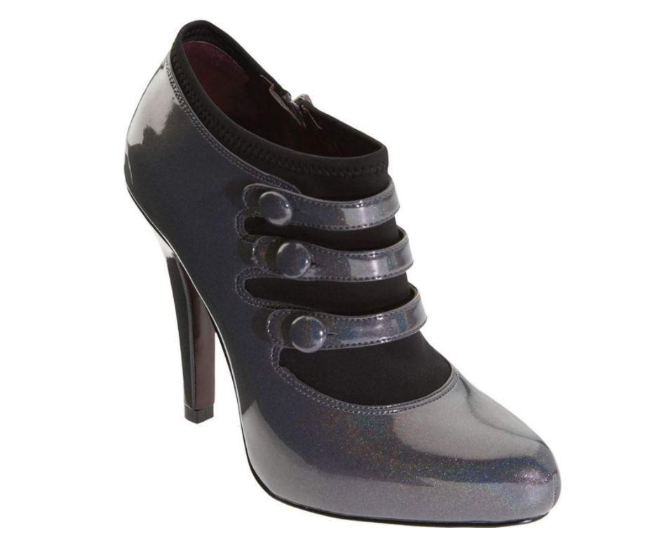 NIB Jessica Simpson Rachella Carbon Irridescent Patent Pumps Heels Boot Bootie