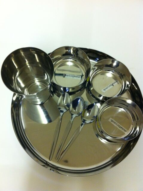 Stainless Steel Traditional Asian/Indian Curry Thali  Dinner Set 3 Katorie Bowls