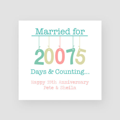 Fifty-Fifth Personalised Handmade 55th Wedding Anniversary Card Emerald