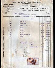 """BOURGES (18) EPICERIE CONFISERIE """"AUX QUATRE FILS AYMOND / J GIRONDEAU & BARREL"""""""