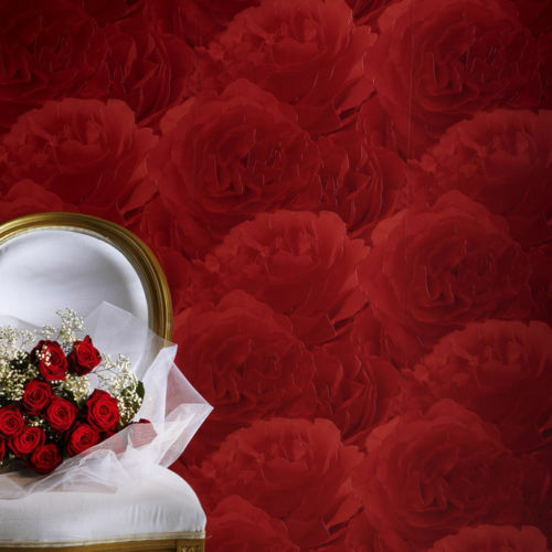 Rasch Luxury Vinyl Wallpaper Red Roses Pattern 818437 Batch 17