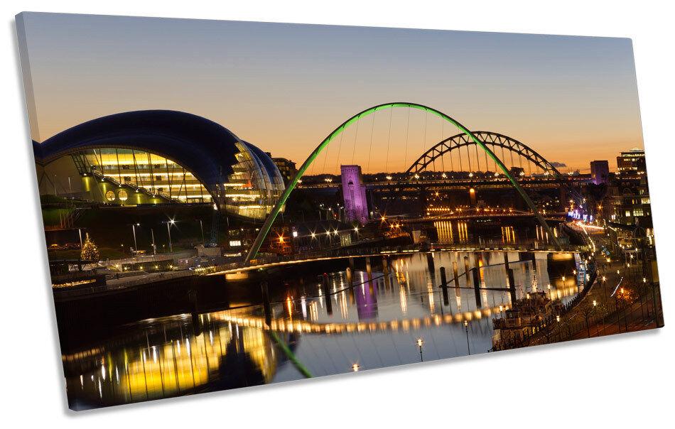Newcastle Tyne Bridge River PANORAMIC BOX FRAME CANVAS ART Picture