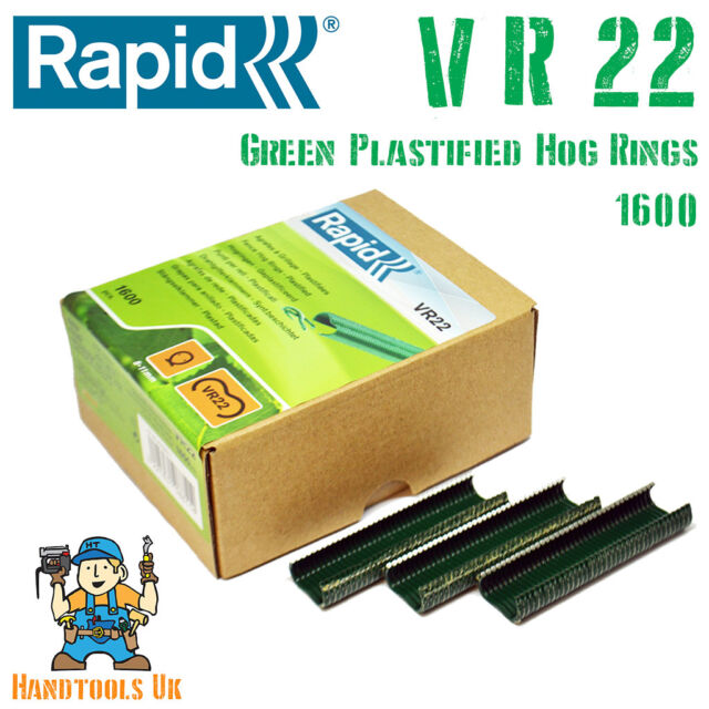 Rapid RPDVR22GR160 VR22 Fence Hog Rings Pack 1600 Green Boxed