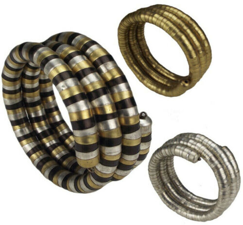 Pulsera enrollada nepal metal en 3 combinaciones de colores